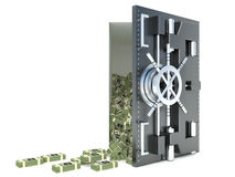 3d illustration of steel safe with money, over white background Royalty Free Stock Photo