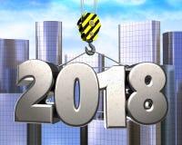 3d crane hook with steel 2018 sign. 3d illustration of steel 2018 sign with crane hook over city background Stock Images