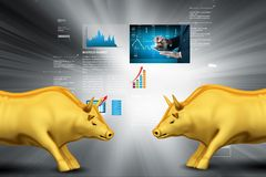 Stock market growth concept. 3d illustration of Stock market growth concept Royalty Free Stock Images
