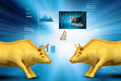 Stock market growth concept. 3d illustration of Stock market growth concept Royalty Free Stock Photo