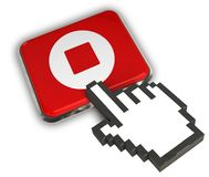 Stop Icon. 3D illustration of Stop Icon - Hand Cursor Click Royalty Free Stock Photos