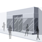 3D illustration of store front with shoppers. 3D illustration of shoppers outside modern store front Royalty Free Stock Image