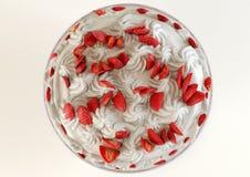 3D illustration Strawberry meringue dessert. A 3D illustration of a strawberry meringue dessert Stock Photography