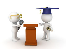 3D illustration of student about to give a graduation speech Stock Photography
