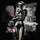 3D illustration. The stylish cyborg the woman on a grunge background. Stock Photography