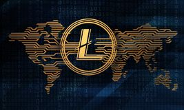 3d illustration of the stylized crypto currency litecoin on the background of the electronic world map. And digital matrix Stock Images
