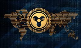 3d illustration of the stylized crypto currency quarkcoin on the background of the electronic world map. And digital matrix Stock Image