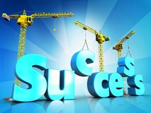 3d success blue color over light rays. 3d illustration of success blue color sign with cranes over light rays background Stock Image