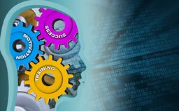 3d gears. 3d illustration of success system over binary background with gears Stock Image