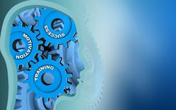 3d head profile. 3d illustration of success system over blue background with blue gears Royalty Free Stock Images