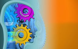 3d head profile. 3d illustration of success system over orange background with blue gears Stock Photography