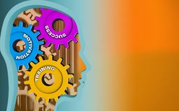 3d head profile. 3d illustration of success system over orange background with gears Royalty Free Stock Image