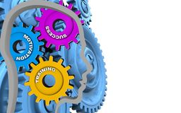 3d blue gears. 3d illustration of success system over white background with blue gears Stock Image