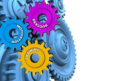 3d blue gears. 3d illustration of success system over white background with blue gears Royalty Free Stock Photos