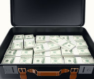 3d illustraton. Suitcase full of money. 3d illustration. Suitcase full of money. Isolated white background Royalty Free Stock Photo