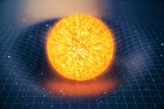 3D illustration Sun gravity bends space around it. With bokeh effect. Concept gravity deforms space time grid around Royalty Free Stock Photos
