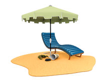 3d Illustration of Sun umbrella and chair on the beach, isolated white Royalty Free Stock Photos