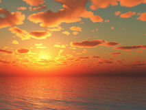 3d illustration sunset over the sea. With rich deep vivid colors of oranges, reds and yellows Royalty Free Stock Images