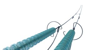 3d illustration Support Wires Insulators. View from above stock illustration