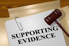 Supporting Evidence concept. 3D illustration of SUPPORTING EVIDENCE title on legal document Royalty Free Stock Image