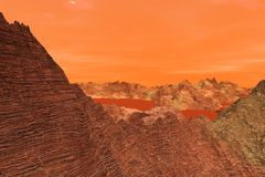 3D Illustration of the surface of Planet Mars vector illustration