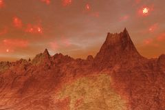 3D Illustration of the surface of Planet Mars stock illustration