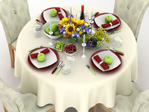 3d illustration of table setting. The reception dinner Stock Photo