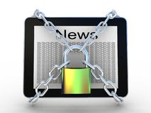 3d illustration of tablet computer locked with chains and padloc Royalty Free Stock Photo