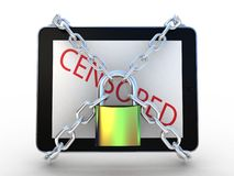 3d illustration of tablet computer locked with chains and padloc Royalty Free Stock Images
