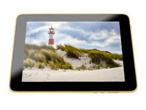 3D Illustration - Tablet with Lighthouse on display Royalty Free Stock Photo