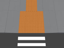 Tactile Paving concept. 3D illustration of tactile paving on a sidewalk, leading to pedestrian crossing Royalty Free Stock Images