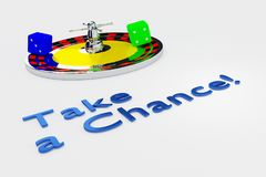 Take a Chance concept. 3D illustration of Take a Chance title written in embossed letters, with a roulette wheel and two dice royalty free illustration
