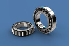 3D illustration of tapered roller bearings. On blue Stock Photos