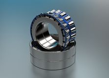 3D illustration of tapered roller bearings. On metallic Stock Photography