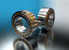 3D illustration of tapered roller bearings. On metallic Stock Photos