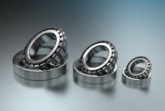 3D illustration of tapered roller bearings. On metallic Royalty Free Stock Images