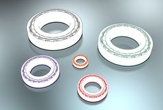 3D illustration of tapered roller bearings. On metallic Royalty Free Stock Image