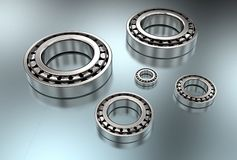 3D illustration of tapered roller bearings. On metallic Stock Image