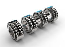 3D illustration of tapered roller bearings. On white Stock Photography