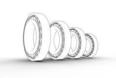 3D illustration of tapered roller bearings. On white Royalty Free Stock Image
