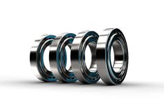 3D illustration of tapered roller bearings. On white Stock Photo