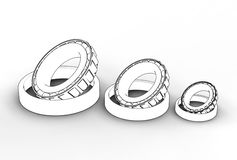 3D illustration of tapered roller bearings. On white Royalty Free Stock Photo
