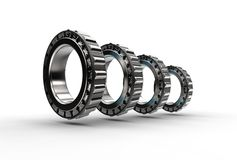 3D illustration of tapered roller bearings. On white Stock Images
