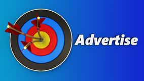 3d target with advertise sign. 3d illustration of target with advertise sign over blue background Royalty Free Stock Images