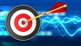 3d target with arrow hit. 3d illustration of target with arrow hit over blue waves background Stock Photography