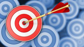 3d target with arrow hit. 3d illustration of target with arrow hit over many targets background Royalty Free Stock Photo