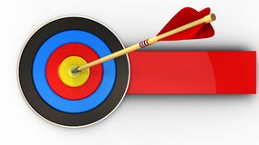 3d target with arrow hit. 3d illustration of target with arrow hit over white background stock illustration