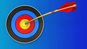 3d target with arrow. 3d illustration of target with arrow over blue background Stock Photo