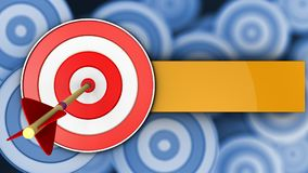 3d target with arrow. 3d illustration of target with arrow over many targets background Stock Photo