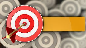 3d target with arrow. 3d illustration of target with arrow over multiple targets background Stock Photo